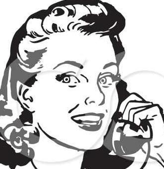 209618-Royalty-Free-RF-Clipart-Illustration-Of-A-Retro-Black-And-White-Retro-Woman-Smiling-And-Chatting-On-A-Phone.121123313_std