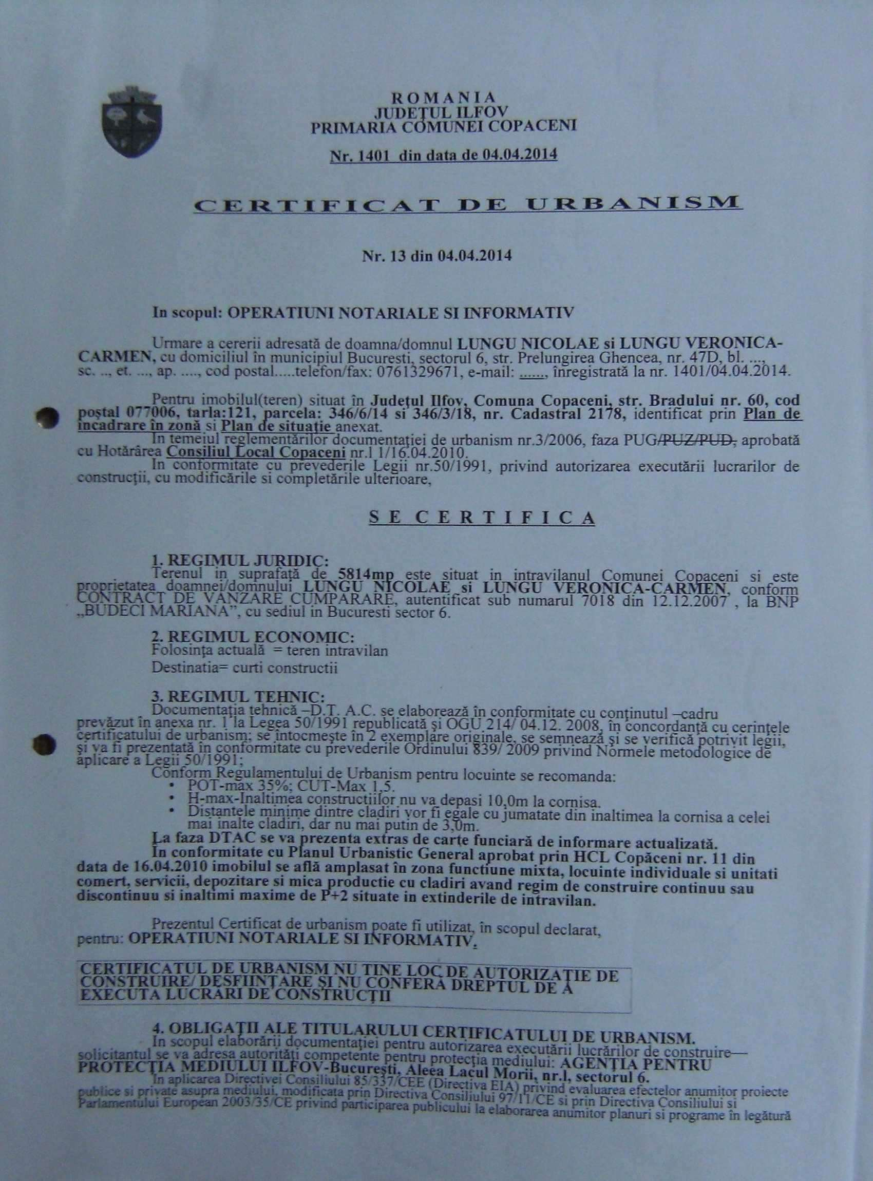 Teren Intravilan Lotizat C-tii Destinatie Mixta Localitatea Copaceni Judetul Ilfov